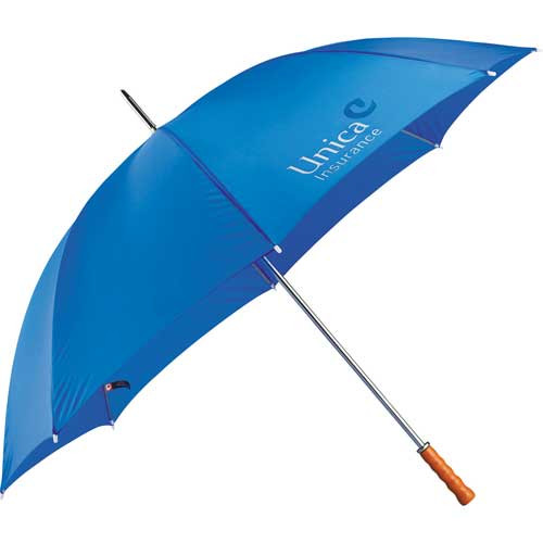 "Golf Umbrella - 60"" - Full-size golf umbrella. Manual opening. Large polyester canopy with matching color case. Sturdy metal shaft with large wood handle."
