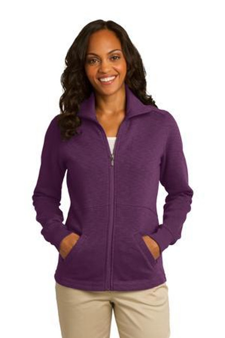 Add Your Logo to Port Authority - Ladies Slub Fleece Full-Zip Jacket - L293