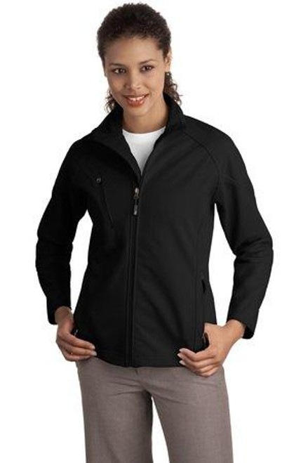 Add Your Logo to Port Authority - Ladies Textured Soft Shell Jacket - L705