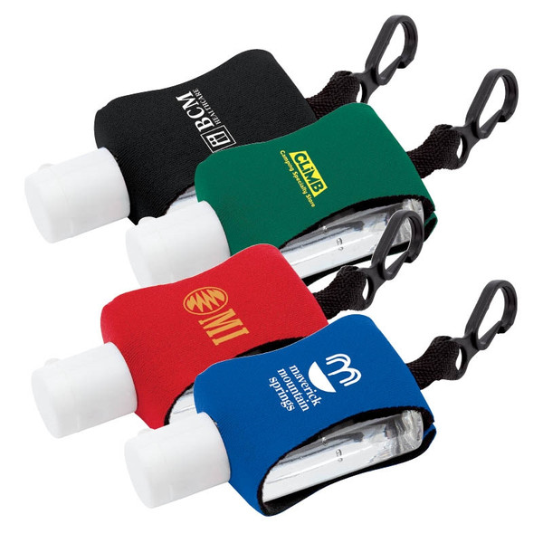 HAND SANITIZER  BOTTLE with Neoprene Sleeve and easy to attach clip.0.5 OZ