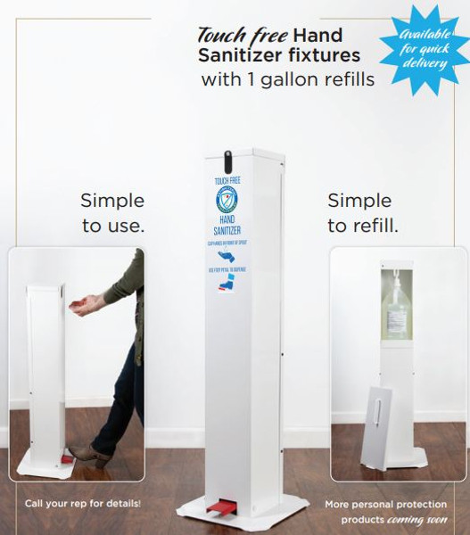 Touch-Free Pedal Hand Sanitizing Station.  Touch-free protection. Easy to position in high-traffic areas. Space savings design. No Batteries or power cord required. Easy and safe pedal press. White and red design to ensure visibility. Red pedal to insure people know how to use it. Comes with pump that fits any gallon-size jug