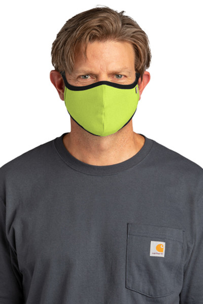 Two-ply 95/5 cotton/spandex • 100% cotton lining • Three-panel design with center and under-chin seams • Carhartt logo at the upper left seam  • Stretch binding ear loops • Ideal for outdoor or indoor use • Non-medical • Machine washable • Non-returnable • 3 masks per pack • This product is not intended for use by health care professionals and is not intended as a replacement for personal protective equipment. • This product makes no claims of antimicrobial protection, antiviral protection, particulate filtration, or infection prevention or reduction.