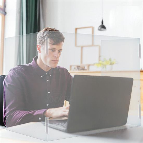 "Portable 3-Panel Desk Shield-  23.5""+23.5"""