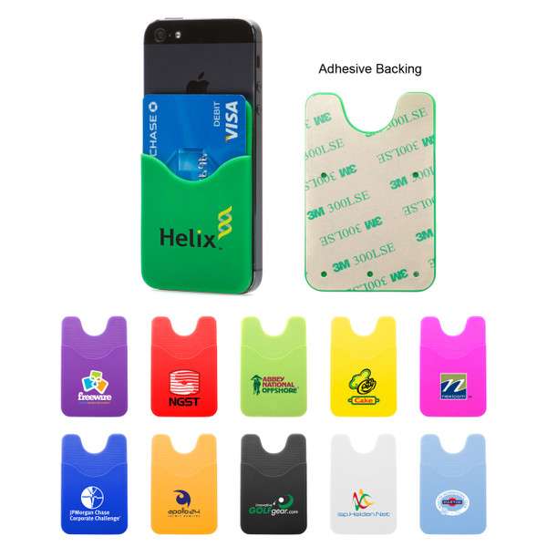 """THE SMART PHONE WALLET - This 2 1/4"""" x 3 3/8"""" silicone wallet has a sticky pad that grips your cellphone tight. Inside is enough room to hold a few ID or credit cards, a spare key or some cash without being too bulky."""