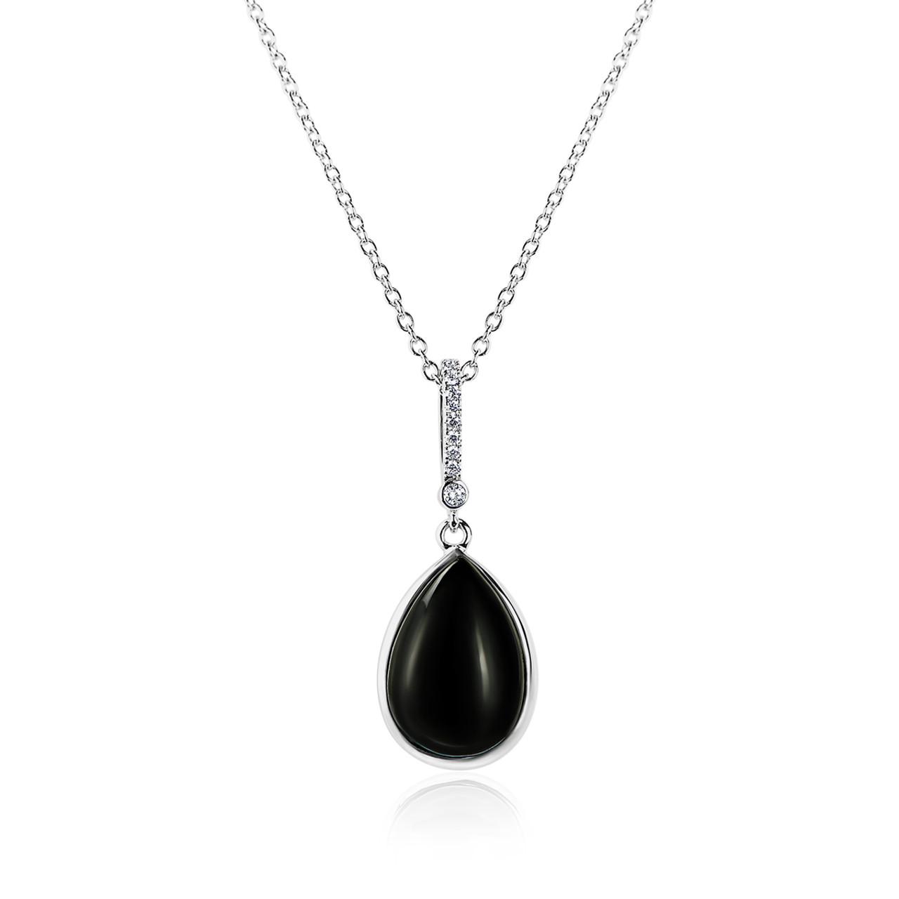 5786005a589 Pear Black Onyx and Diamond Pendant - LIBAR