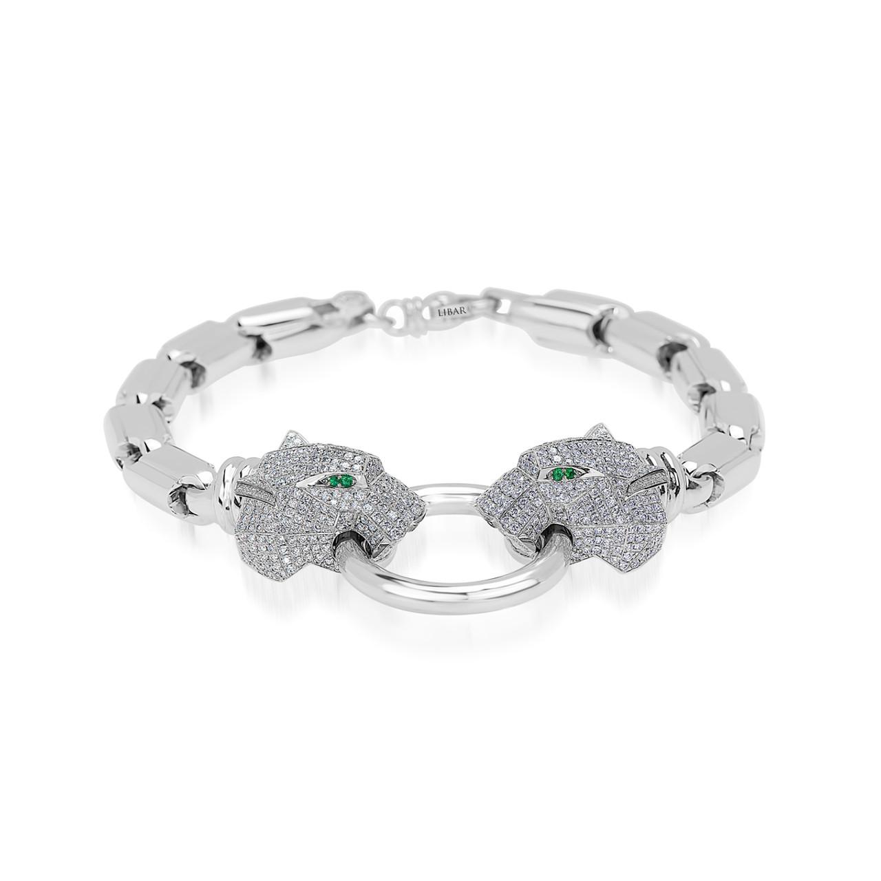 ae809e82d4b5e Pave Set Diamond and Emerald Panther Head Bracelet