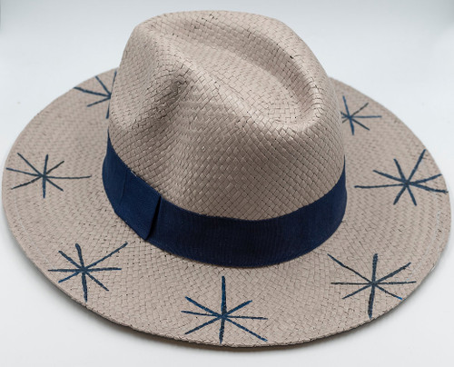 Five Stars, Fedora, Hand-painted Hat in Gray
