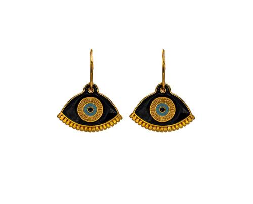 Gold Evil Eye in Black,  Hoop Earrings