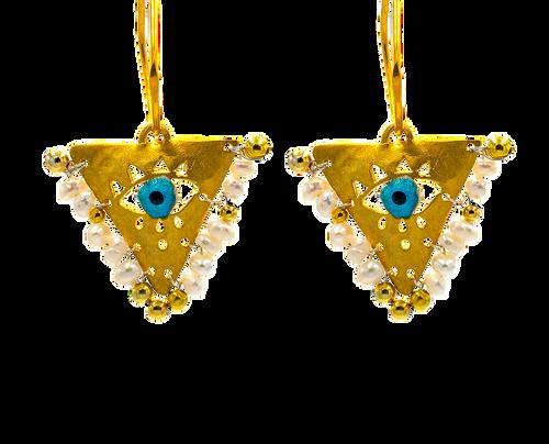 """Pearl White """"Fylachto"""" Talisman Earrings"""