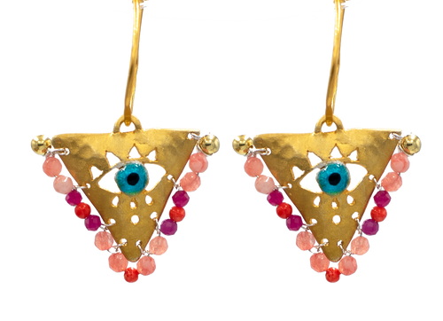 """Shades of Pink """"Fylachto"""" Talisman Earrings"""