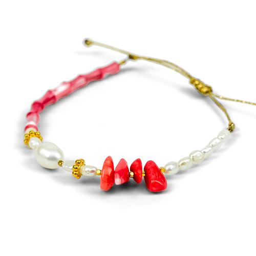 Coral Pink, White Freshwater Pearl Bracelet