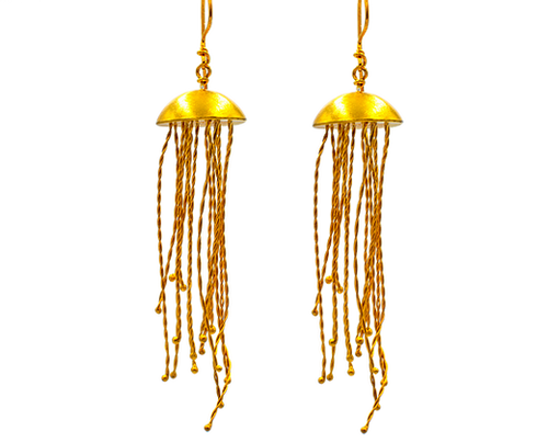 Jellyfish Earrings in Gold Plated Silver