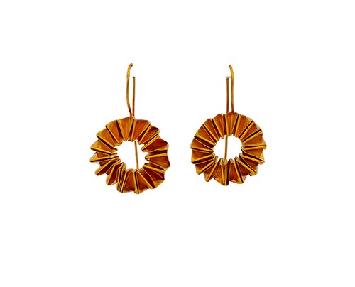 Circle Accordion Gold Plated Earrings