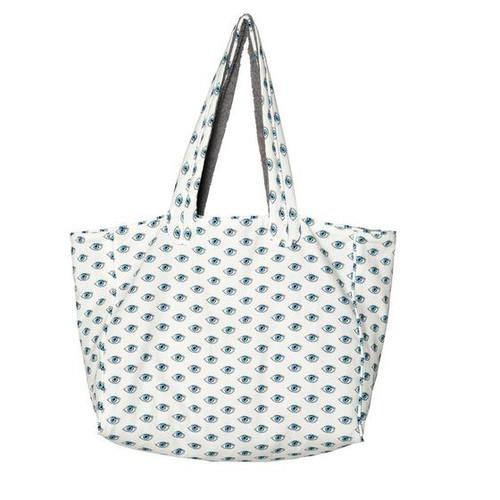 Watch Out Premium Cotton Beach Bag in White