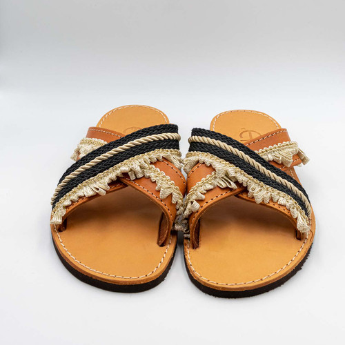 Black and Gold, Handmade Leather Sandals