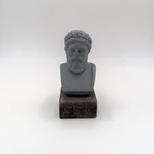 Front Image of Zeus Coloured Figurine in Grey