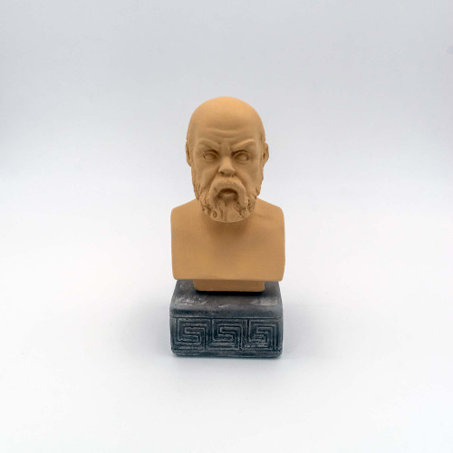 Front Picture of Socrates Coloured Figurine in Ochre Colour