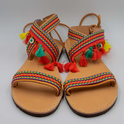 Boho Pink Sandals, Handmade, Genuine Greek Leather