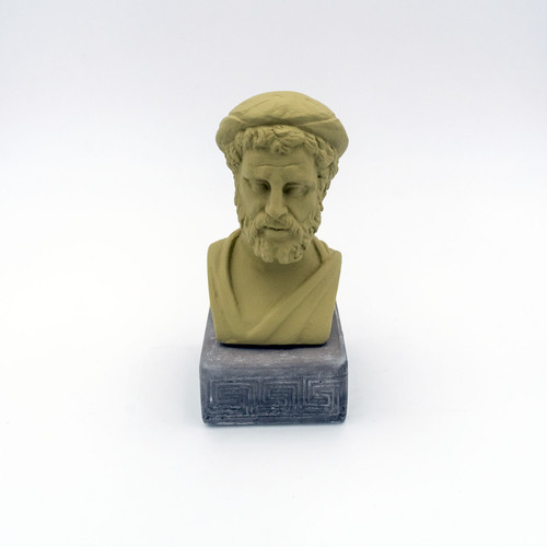 Front image of Pythagoras Coloured Figurine in olive green