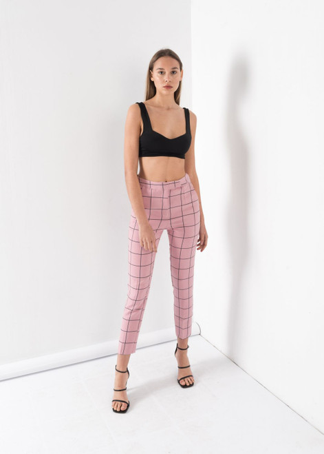 Checked Trousers in Sweet Pink, Straight Cut