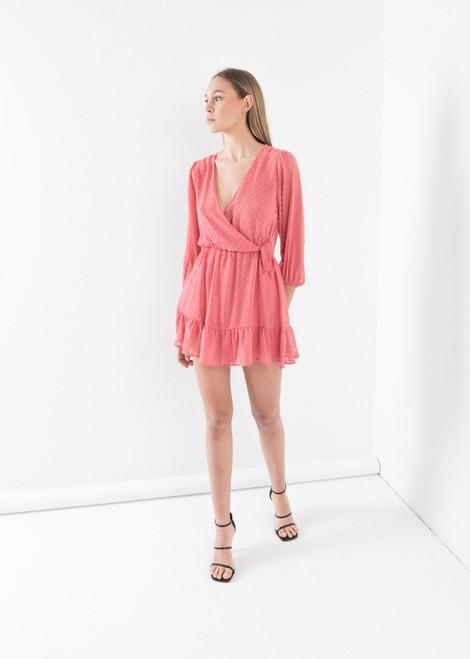 Dotted Mesh Mini Dress in Bubblegum Pink