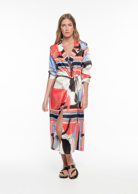 Maxi Wrap Dress with Chain Print & Gold Plated Buttons