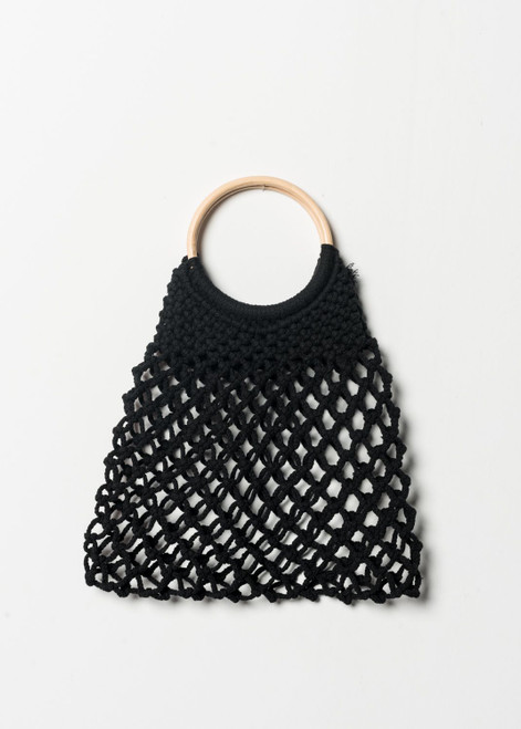 Black Knitted Handbag with Wooden Details