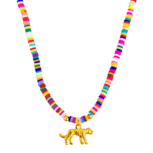 Joyful Panther, Colourful Beaded Pendant