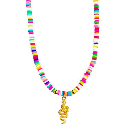 Joyful Snake, Colourful Beaded Pendant
