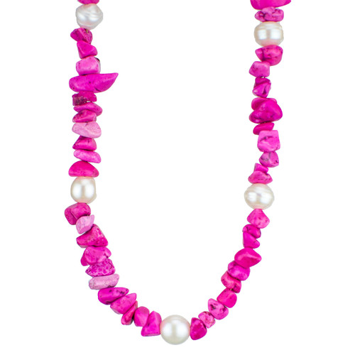Oh Coral...! Fuchsia Pendant with Pearls