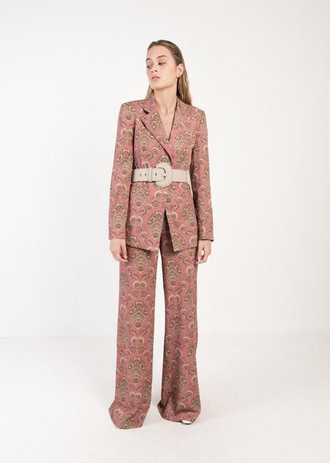 Bohemian Flared Printed Trousers in Magenta