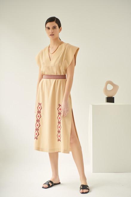Lysimachia, Linen Dress in Caramel, Embroidered