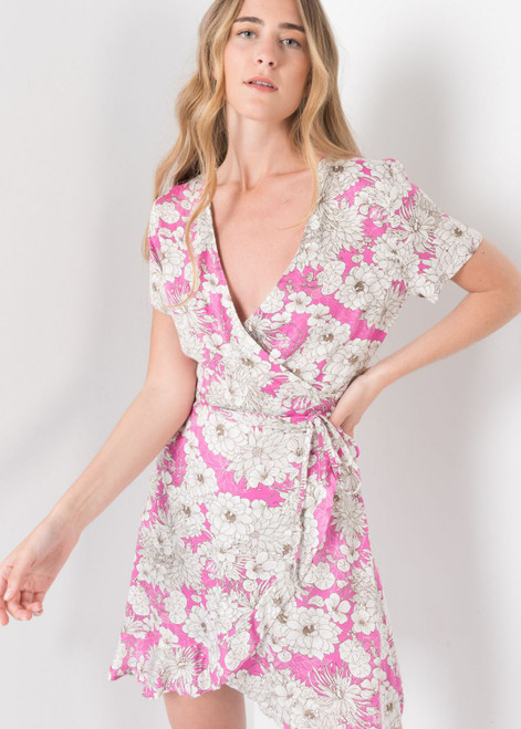 Girly Floral Print Dress in Pink