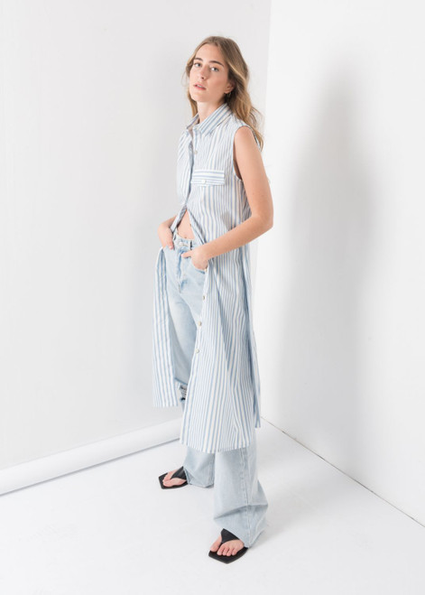 Striped Shirt Dress in Light Blue & White