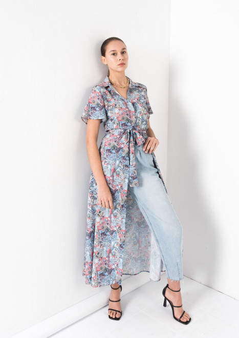 Paisley Midi Shirt Dress in Light Blue, Belted