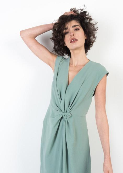 Knotted Midi Dress in Mint Green