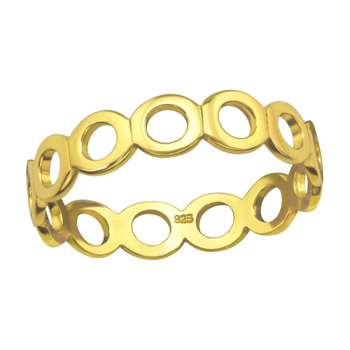 Chain Ring, in Gold Plated Silver
