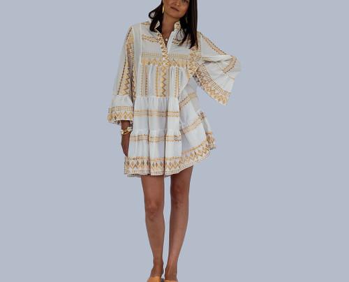 Boho Mini Kaftan, Dress, Gold