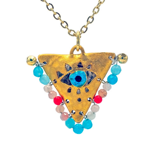 """Boho Turquoise """"Fylachto"""" Talisman Pendant"""