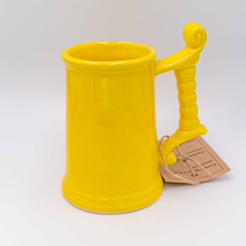 Ceramic Beer Glass in Bright Yellow