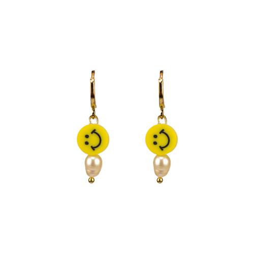 Pearly Smiley Hoop Earrings in Bright Yellow