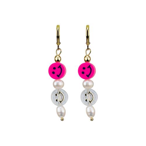 Pearly Double Smiley Hoop Earrings in Fuschia