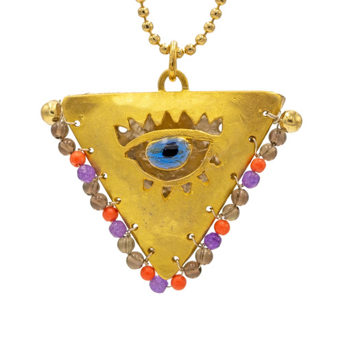 "Amber, Purple and Gold ""Fylachto"" Talisman Pendant"