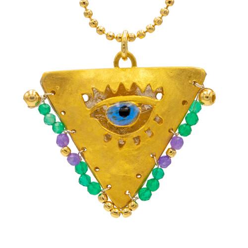 "Boho Emerald and Purple ""Fylachto"" Talisman Pendant"