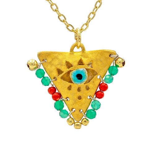 """Cherry Red and Mint """"Fylachto"""" Talisman Pendant"""