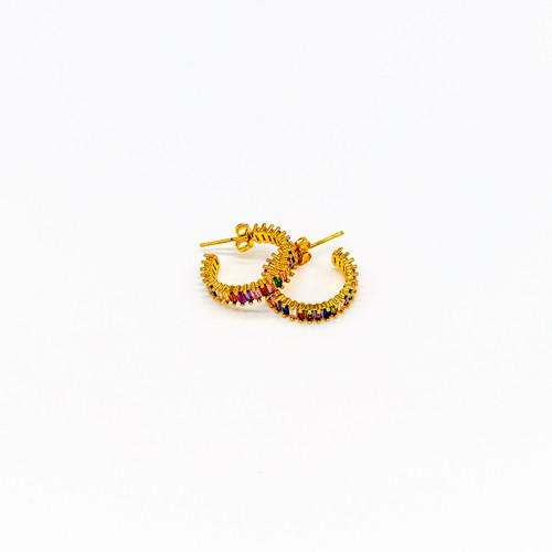 Large Rainbow Zircon, Circle , Hoop Earrings