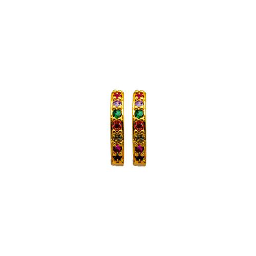 Rainbow Zircon, Circle , Hoop Earrings