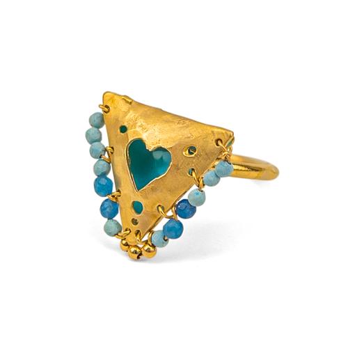 "Shades of Blue, Heart ""Fylachto"" Talisman Ring"