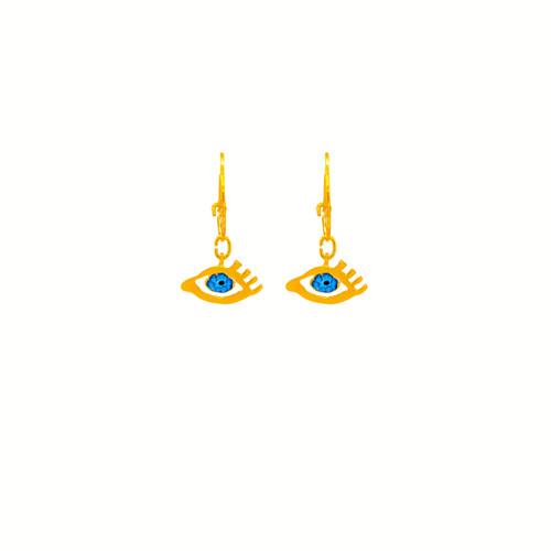 Eye of Gold in Blue, Earrings in gold-plated silver