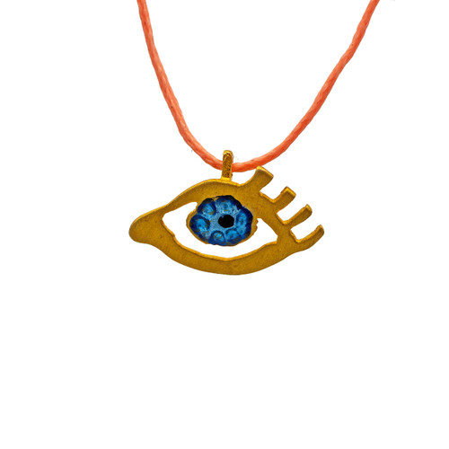 Eye of Gold in Pink, Pendant in gold-plated silver